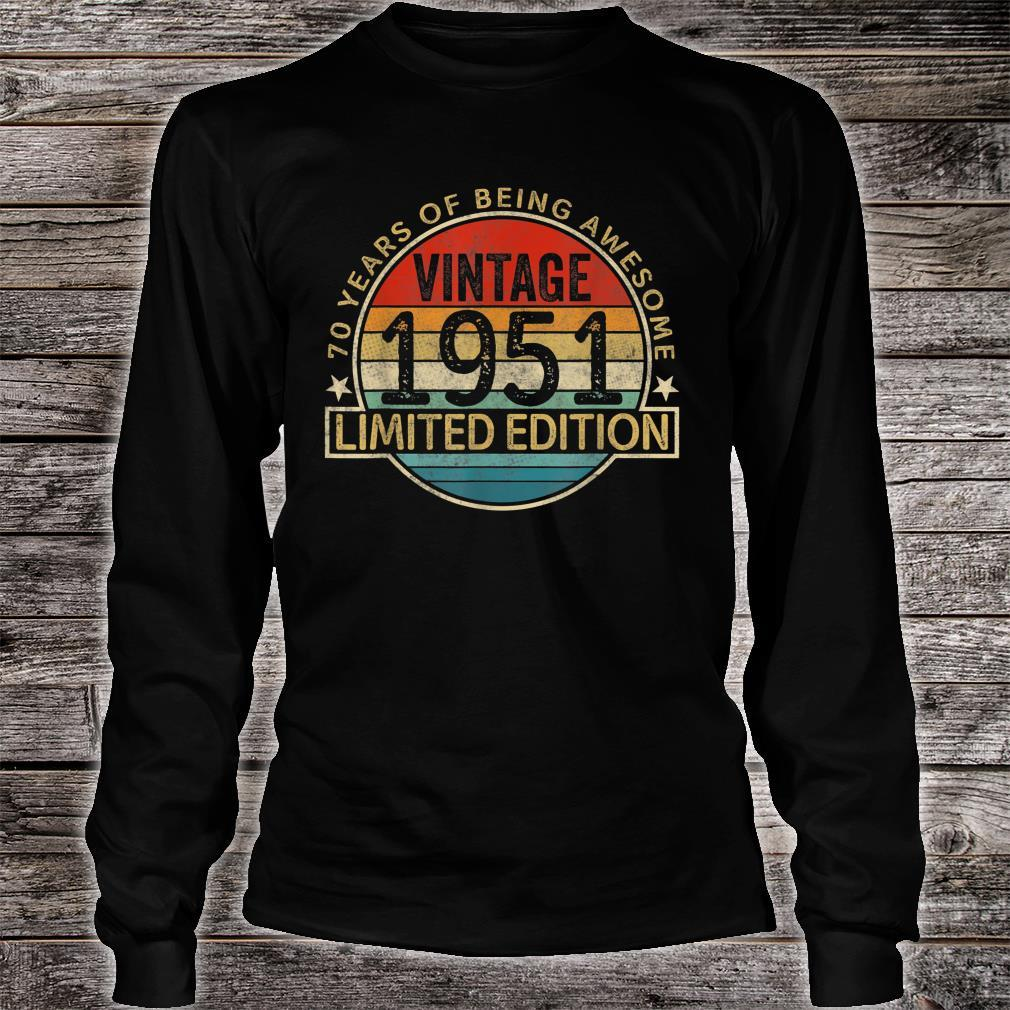 Vintage 1951 Limited Edition 70th Birthday 70 Years Old Shirt long sleeved