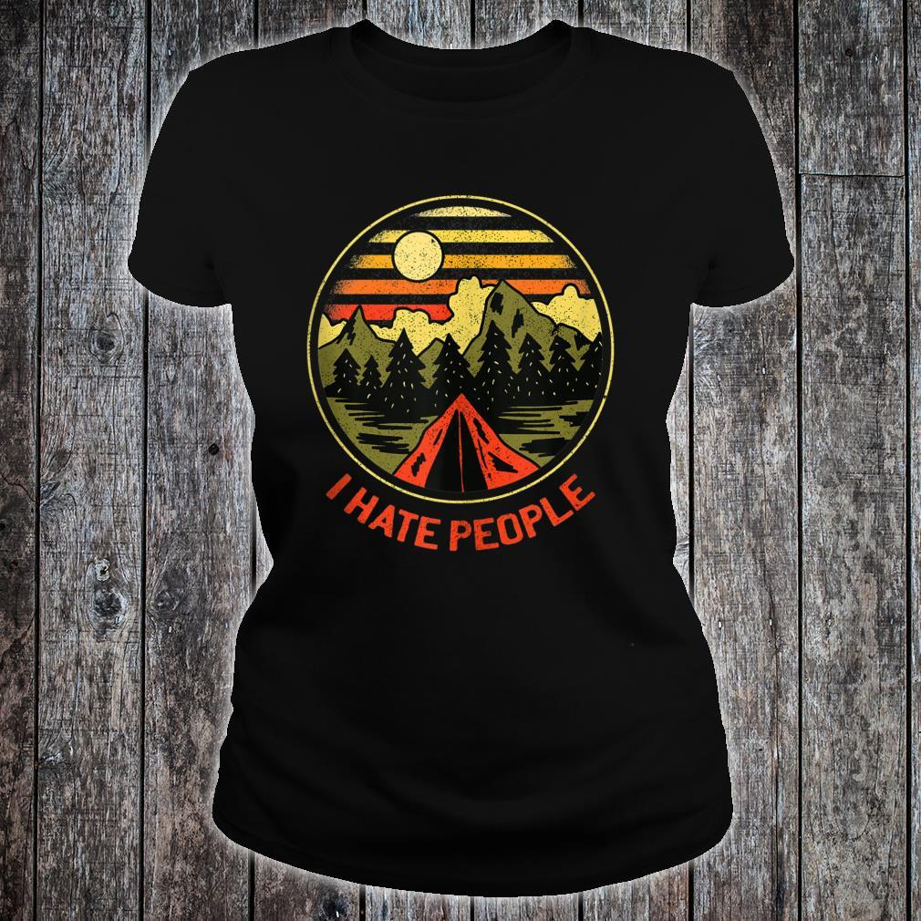 Vintage Camping Hiking Forest Mountains I Hate People Shirt ladies tee