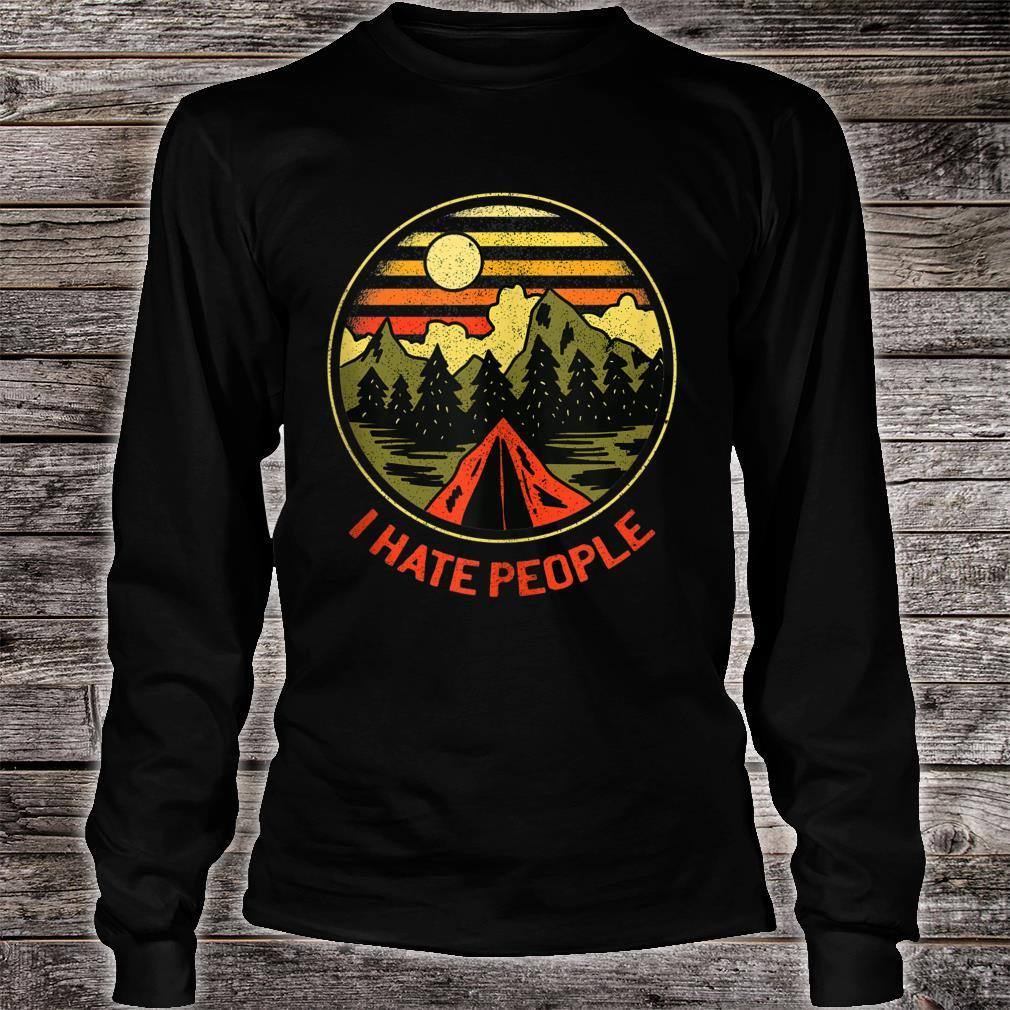 Vintage Camping Hiking Forest Mountains I Hate People Shirt long sleeved
