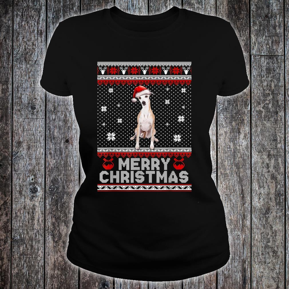 Whippet Dog Merry Christmas Ugly Shirt ladies tee